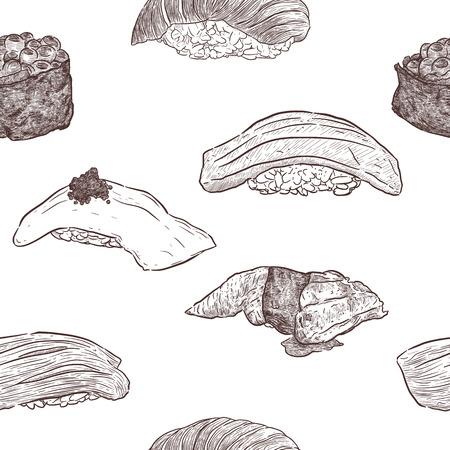Nigiri set Ika, Ikura, Akami, Otoro, unagi seamless pattern vector. Hand draw sketch vector. Vektorové ilustrace