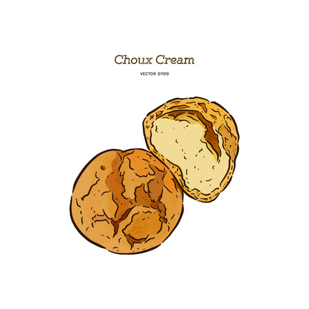 Delicious cream puff cakes with cream, hand draw sketch vector.