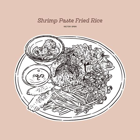 Thai fried rice with shrimp paste, khao kluk kapi. Hand draw sketch vector.