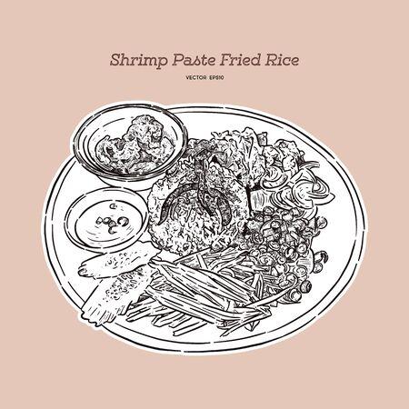 Thai fried rice with shrimp paste, khao kluk kapi. Hand draw sketch vector. Vettoriali