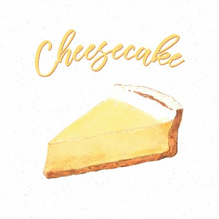 Baked cheesecake, Hand Drawn Cake style. 矢量图像