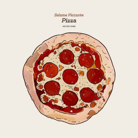 Pizza salami, hand draw sketch vector. Vector illustration for whole round hot pizza,