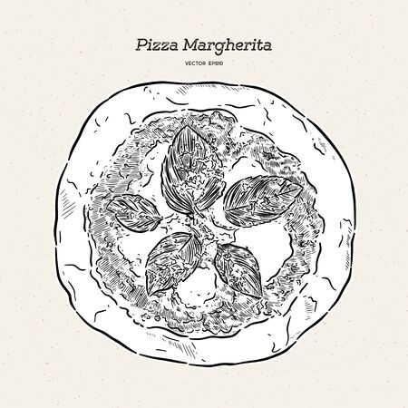 Pizza Margherita, hand draw sketch vector.