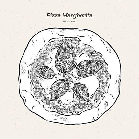 Pizza Margherita, hand draw sketch vector.