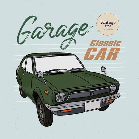 Classic car, hand draw sketch vector.