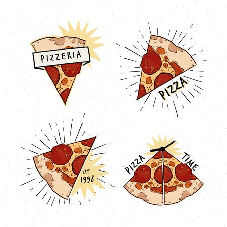 Pizzeria set. Collection of different design with pizza slices and inscriptions. - Vector