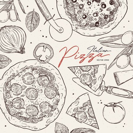 Pizza cafe design template. Pizza ingredients composition. Vector illustration - Vector Illustration