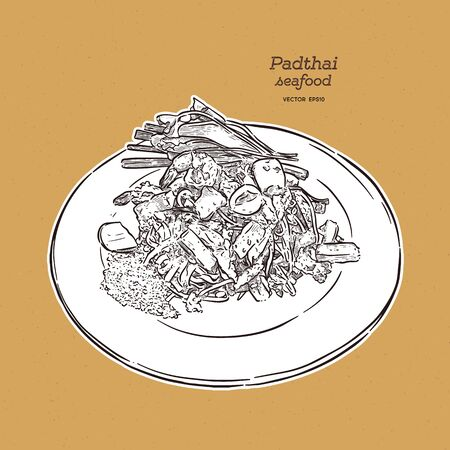 Noodle padthai food thailand in the dish. hand draw sketch vector.