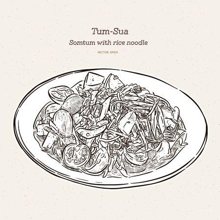 Pikantna sałatka z papai z makaronem ryżowym lub słynne z Tum-sua tradycyjne tajskie jedzenie. ręcznie rysować szkic wektor.