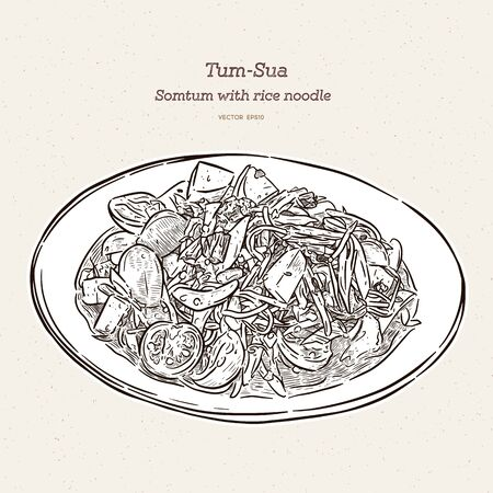 Spicy papaya salad with rice noodle or Tum-sua famous traditional Thai food. hand draw sketch vector.