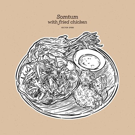 Somtum or papaya salad with fried chicken, hand draw sketch vector. Thai local food.