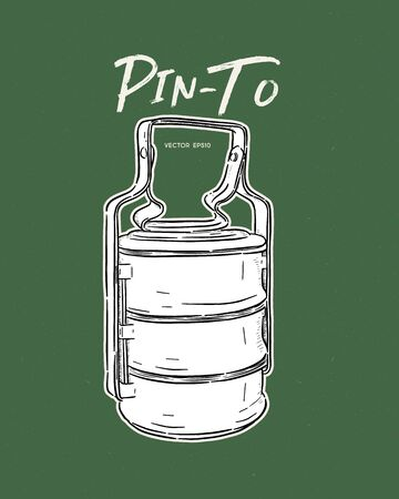 Thai food carrier Tiffin carrier or Pinto used for food. Hand draw sketch vector. Illustration