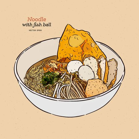 Noodle soup with fish ball, hand draw sketch vector. Stock Illustratie
