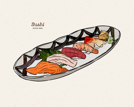 Sushi of hand-drawn illustration. A set of sketches of Japanese cuisine for the menu of Asian restaurant, brochures, leaflets, posters, websites. Filed on the tip. The text sushi bar - Vector