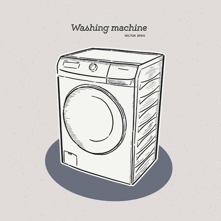washing machine, hand draw sketch vector.