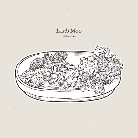 Spicy Minced Pork Salad (Larb Moo) Thai food, hand draw sketch vector. Illustration