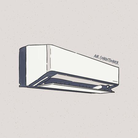 Air conditioner, hand draw sketch vector. Ilustração
