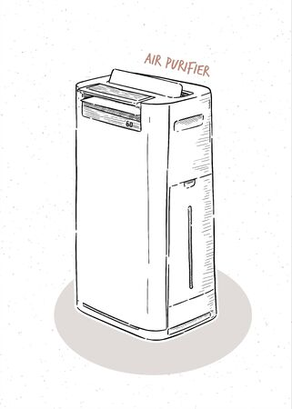 air purifier, hand draw sketch vector.  イラスト・ベクター素材