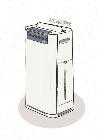 purificatore d'aria, vettore di schizzo di tiraggio della mano. Vettoriali