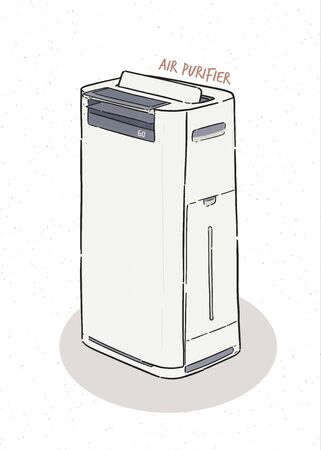 air purifier, hand draw sketch vector. Illustration