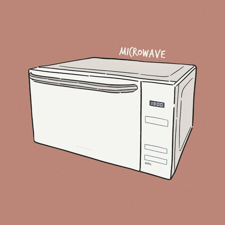 Microwave oven. Vector illustration of a sketch style.