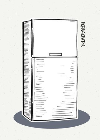 Refrigerator. Vector illustration of a sketch style.