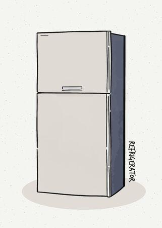 Réfrigérateur. Illustration vectorielle d'un style de croquis.