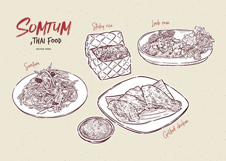 Somtum Collection, Somtum, Grilled chicken, sticky rice and larb moo. Thai food. Hand draw sketch vector. Illusztráció