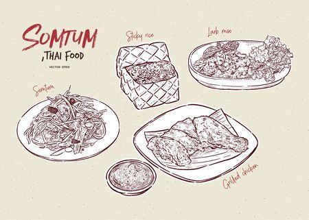 Somtum Collection, Somtum, Grillowany kurczak, lepki ryż i larb moo. Tajskie jedzenie. Ręcznie rysować szkic wektor. Ilustracje wektorowe