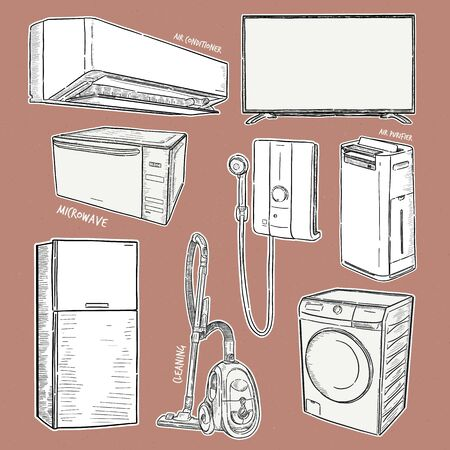 Household appliances collection illustration, drawing, engraving, ink, line art, vector