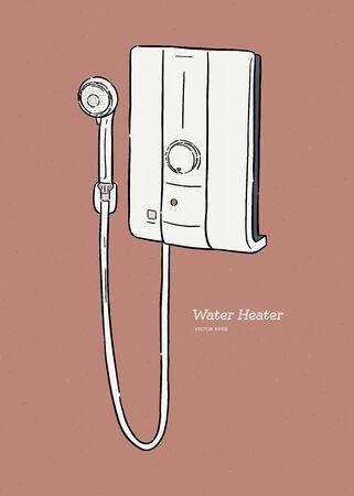 water heater with shower, hnad draw sketch vector. Ilustração
