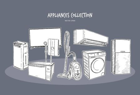 Household appliances collection illustration, drawing, engraving, ink, line art, vector Banco de Imagens - 134583763