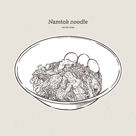 Thai style noodle blood soup serve with pork ball and vegetable topping with fried garlic in Thailand call Namtok. Thai boat noodle. Hand draw sketch vector.