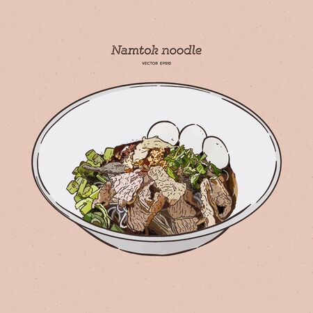 Thai stlye noodle blood soup serve with pork ball and vegetable topping with fried galic in Thailand call Namtok. Thai boat noodle. Hand draw sketch vector. Ilustração