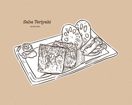 Grilled Saba fish steak with teriyaki sauce - Japanese food style. Hand draw sketch vector. Imagens - 135119952