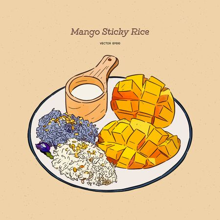 Thai style tropical dessert, Sweet mango with sticky rice mix with coconut milk. hand draw sketch vector.