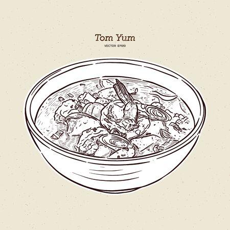 Tom Yum soup, Thai Food. hand draw sketch vector. Ilustração