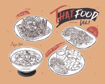 Thai food collection, pad thai, somtum, tomyum and mango sticky rice. hand draw sketch vector.