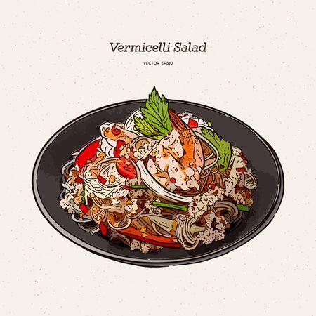 spicy vermicelli salad, hand draw sketch vector.