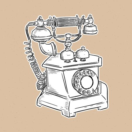 Vintage telephone, hand draw sketch vector.