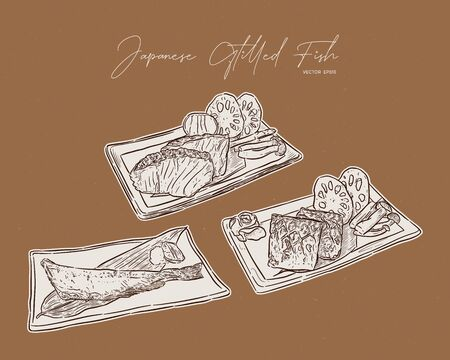 Set of Japanese grilled fish steak, Saba, salmon and shima hokke. hand draw sketch vector. Imagens - 135651227