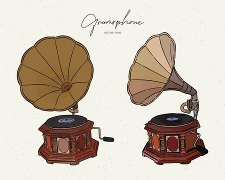 gramophone- vintage hand drawn vector Illustration realistic sketch. Imagens - 137132270