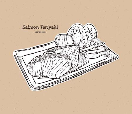 salmon teriyaki, japanese food. Hand draw sketch vector.