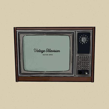 retro television, TV old style sketch vector. Ilustração