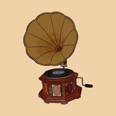 Gramophone, hand draw sketch vector.