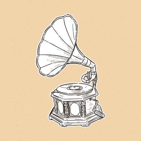 gramophone- vintage hand drawn vector Illustration realistic sketch. Ilustração