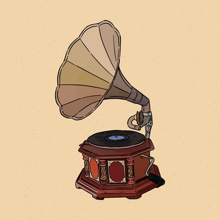 gramophone- vintage hand drawn vector Illustration realistic sketch. Imagens - 136954602