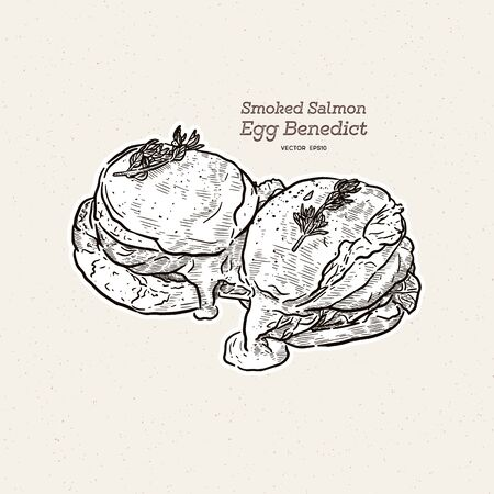 A delicious eggs benedict with smoked salmon, hollandaise sauce,  hand draw sketch vector. Illustration