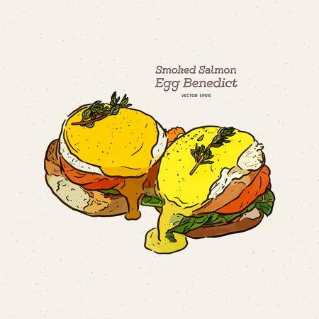 A delicious eggs benedict with smoked salmon, hollandaise sauce,  hand draw sketch vector. Ilustração