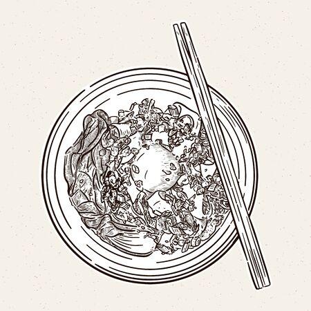 Egg noodle, hand draw sketch vector.